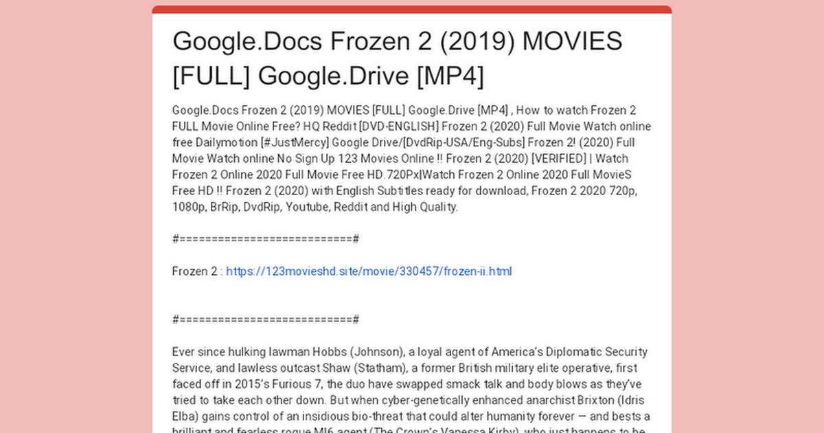 Google Docs Frozen 2 2019 Movies Full Google Drive Mp4
