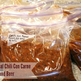 Freezer Meal Chili Con Carne with Bacon and Beer Recipe