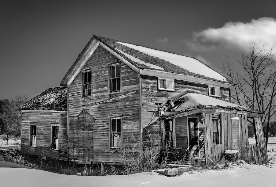 Lean On Me by Stevan Tontich - Black & White Buildings & Architecture ( wisconsin, winter, snow, trip, road, usa )