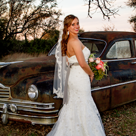 Bride At The Antique Car by Matthew Chambers - Wedding Bride ( bride, auto, white, car, white dress, antique, blonde, wedding, posed )