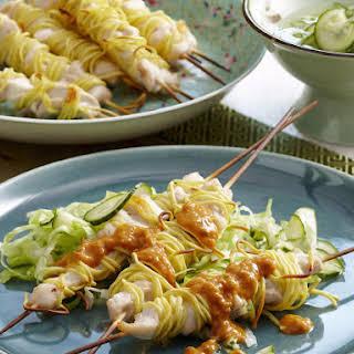 Chicken Noodle Satay Skewers.
