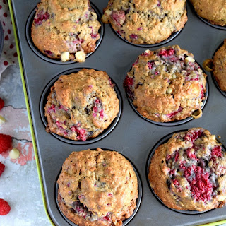 Raspberry Banana Oatmeal Muffins with White Chocolate Chips.