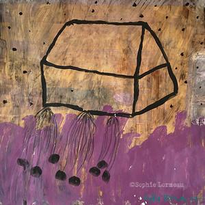 maison-plumetis-noir-black-mauve-violet-purple-pourpre-satin-stitchracine-home-root-uprooted-sophielormeau-lormeau-artiste-peinture-french-artist-art-tableau-paper-naif-naiv-contemporary-pois-