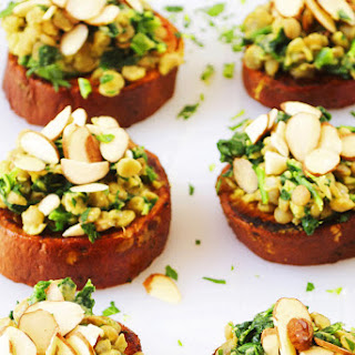 Sweet Potato Crostini with Spring Pea Lentils