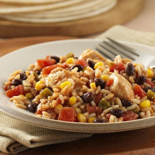 Jamaican Chicken Breasts with Rice and Beans.