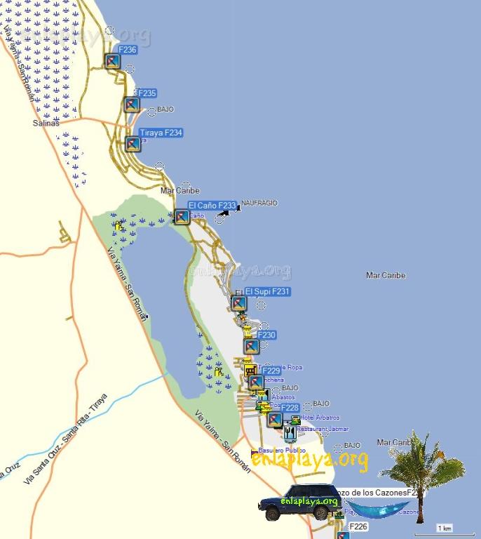 Mapa de Playas del Sector El Supi