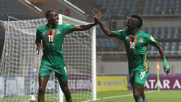 Zambia players celebrate after scoring a goal during a FIFA World Cup 2018 qualifying match against Algeria on Saturday 2 September 2017. Zambia won 3-1.