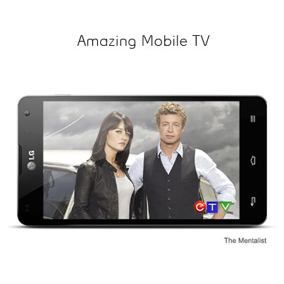 "Photo: With its dual-core processor, blazing-fast LTE speeds and 4.7"" HD screen, the LG Optimus G is perfect for Mobile TV. Catch your favourite shows, sporting events or news broadcasts, wherever you are, with over 25 live TV channels to choose from. http://bit.ly/W5BpVJ"