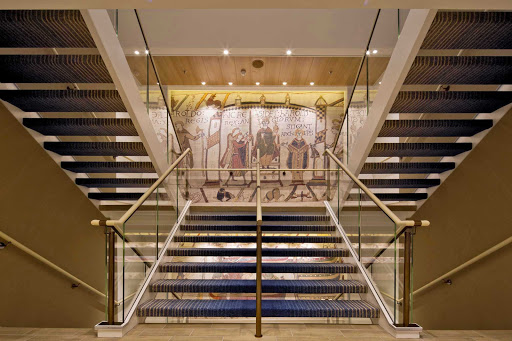 Viking-Star-Bayeaux-replica - The Atrium on Viking Star features a replica of the Bayeaux Tapestry, a nod to the culture of the ports it calls on.