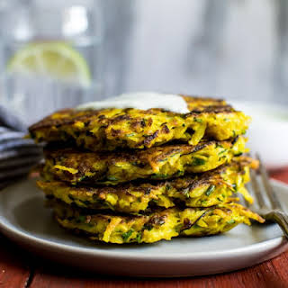 Turmeric Zucchini and Potato Fritters.