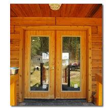 Photo: Sing Core's Honeycomb Torsion Box cedar entrance doors
