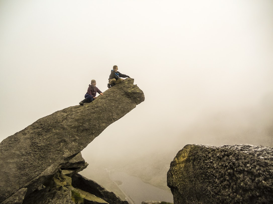 Posing on the Cannon Stone, Tryfan