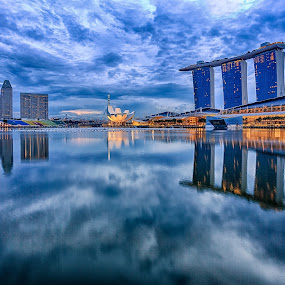 Mirrored Skyline by CK Lam - City,  Street & Park  Skylines ( skyline, sunrise, cityscape, singapore, marina bay, city )