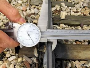 "Photo: George Leventon doing track gauge measurements.  7.689""    HALS Work Day 2015-0411 RPW"