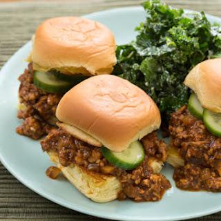 Chicken Sloppy Joe Sliders with Kale Slaw & Homemade Pickles