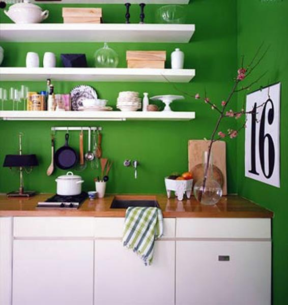green walls with shelf