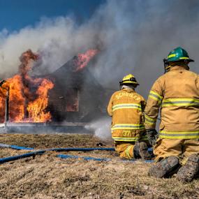Controlled Burn by Christopher Pischel - People Professional People ( firefighter, volunteer, fireman, emt, emergency, firemen, controlled burn, fire )