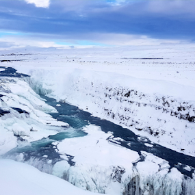 Waterfall by Andrew Linstead - Instagram & Mobile Android ( water, iceland, snow, waterfall, landscape,  )