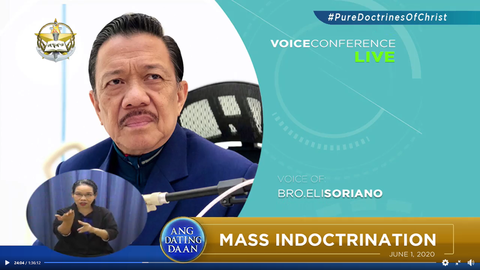 Bro Eliseo Soriano hosting Ang Dating Daan Live Mass Indoctrination through one of Ang Dating Daan's voice conferencing channels Qoneq