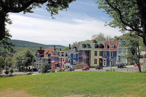 The colorful Garrison Hill Houses in St. John's, Newfoundland.