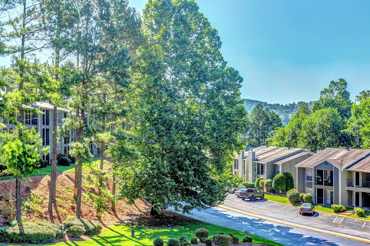 Rise at Signal Mountain apartment buildings surrounded by lush trees and mountain views