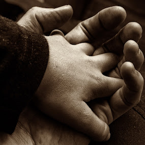 Comfort by Leigh Brooksbank - People Body Parts ( father & son, hands, black & white, monotone, holding hands )