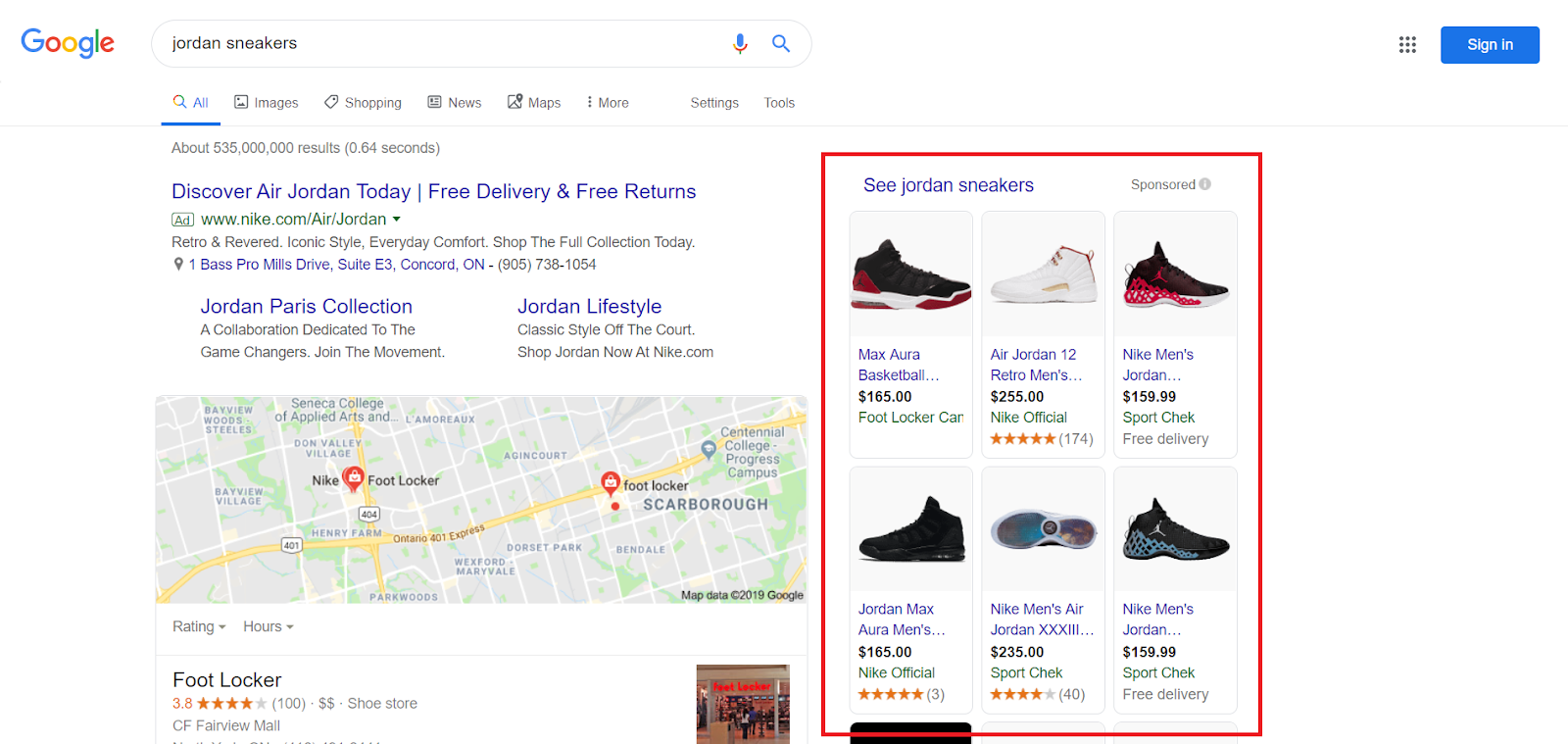 "A shopping ad on the right side Google search results page for ""jordan sneakers"""