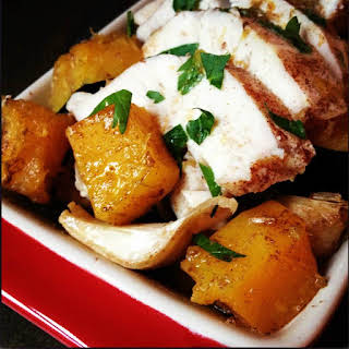 Apple Cider Roasted Chicken with Butternut Squash.