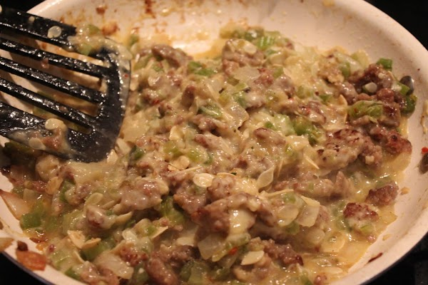 Back to the sausage/squash mixture add some Parmesan and Gouda to the mixture until...