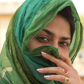 Eyes by Ajay Sood - People Portraits of Women ( green, sood, photo images from india, veil, travel, portrait, eyes, ajay, ajay sood, woman, lady, travelure, pwcfaces-dq )