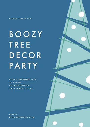 Boozy Tree Decor Party - Christmas Card Template