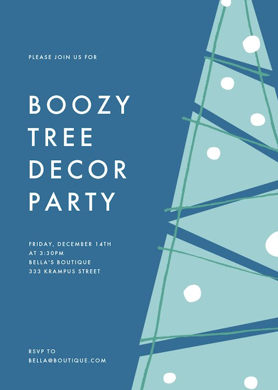 Boozy Tree Decor Party - Christmas Card Template