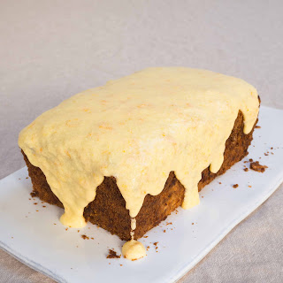 Parsnip Loaf Cake With Orange Frosting.