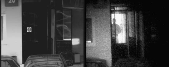 Photo: Слева: стеклянная дверь подъезда. Стекла зеркальные, бликуют на солнце. За стеклами ничто не просматривается ни визуально, ни с помощью ТВК.  Справа: тот же подъезд, но наблюдаемый с помощью прибора «Призрак-М». За стеклянными дверями подъезда видна фигура человека.