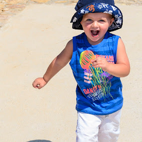 Running Practice by Arend Van der Walt - Babies & Children Children Candids ( blue, shadow, run, toddler, smile, hat )