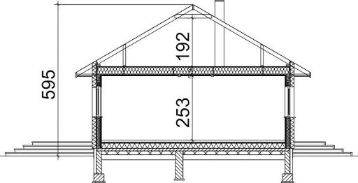 Domek Piastowski szkielet drewniany 002 ES - Przekrój