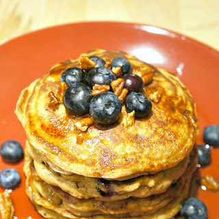 Brown Butter Blueberry Pecan Whole Wheat Pancakes.