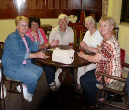Photo: ANNE KITCHENER, VAL KING, OLIVE MAHER, PAT CHAPMAN, EUNICE HARGREAVES. THAT ROSE IS SO POPULAR.