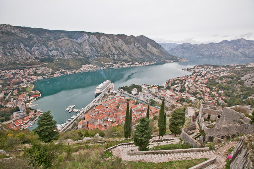 "Kotor-lookout.jpg - JD Lasica: ""This is my favorite photo from Kotor. You can see the Old Town, Kotor Bay, the steep winding trail and Viking Star."""