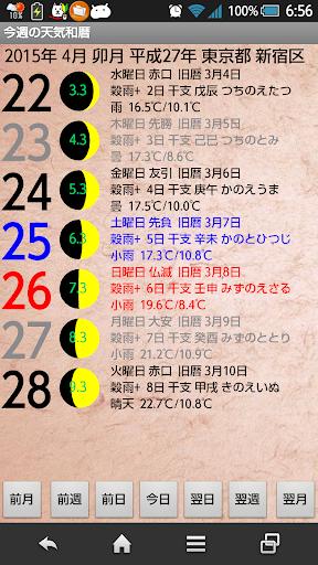 今週の天気和暦