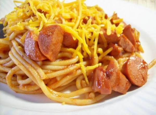 Chili Spaghetti With Hot Dogs Recipe