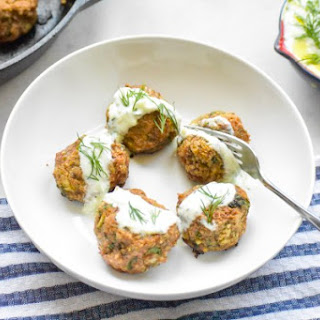 Turkish Spiced Chicken Meatballs with Cucumber Yogurt Sauce.