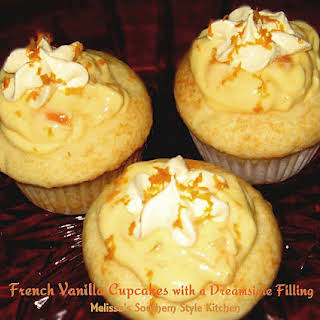 French Vanilla Cupcakes with a Dreamsicle Filling.