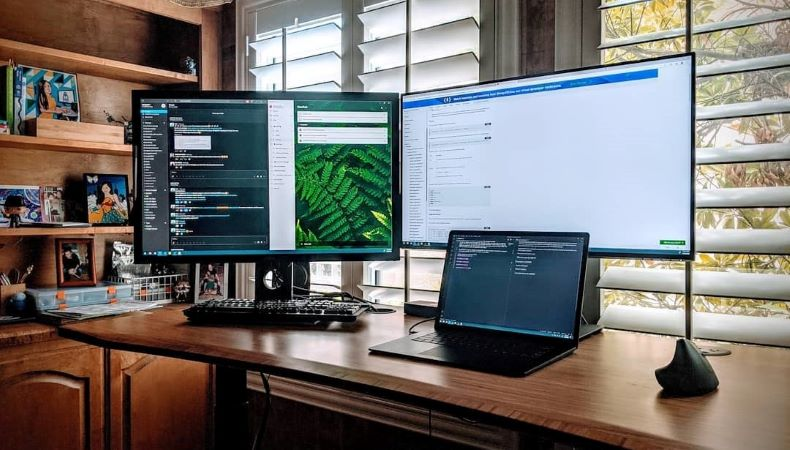 Large monitors in home office