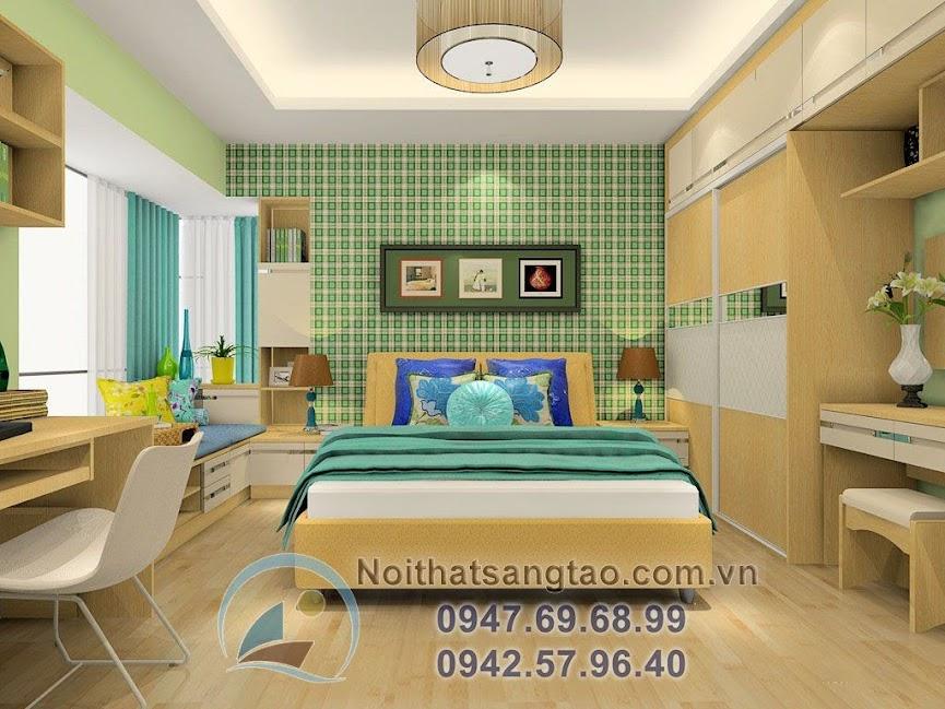 thiết kế phòng ngủ cho người mệnh mộc đẹp