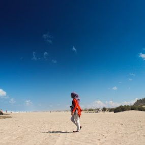 Walk at Parangtritis by Andhika Satya - Landscapes Travel ( parangtritis, sand, blue sky, red, beach, walk, clear sky )