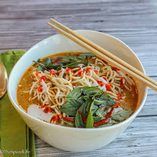 Thai Curried Ramen Bowl With Ground Beef, Beech Mushrooms and Veggies.