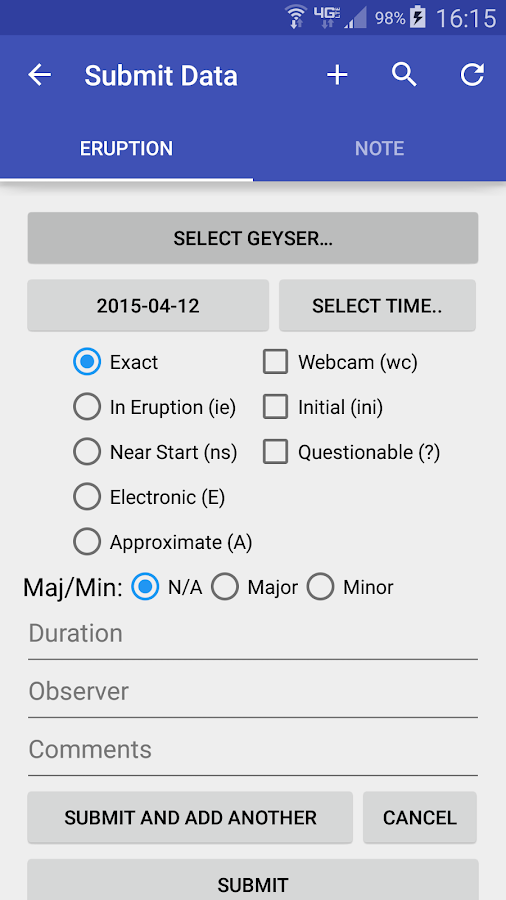 GeyserTimes- screenshot