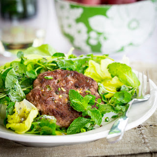 Lamb Patties With Spring Greens And Mint Salad