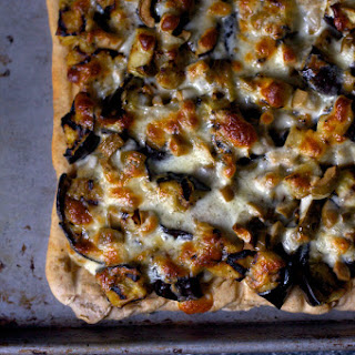 Grilled Eggplant and Olive Pizza.